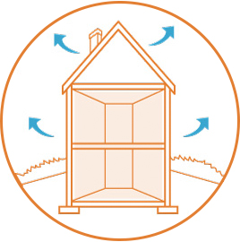 illustration of air escaping from leaks in house envelope