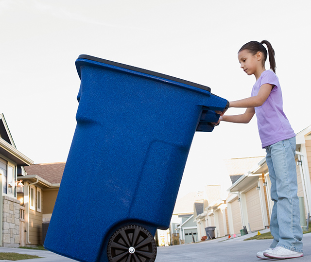 taking recycle bin to the curb